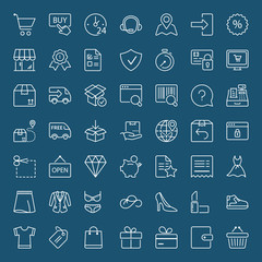 shopping and shipping white thin line iconset