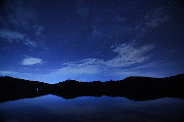 night sky stars with milky way on mountain background on dark blue sky