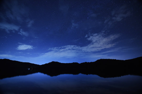 night sky stars with milky way on mountain background on dark blue sky