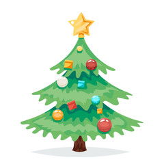 Christmas Tree Decorations and Toys New Year Isolated Icon Cartoon Design Vector Illustration