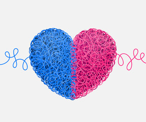 Intertwined blue-and-pink heart