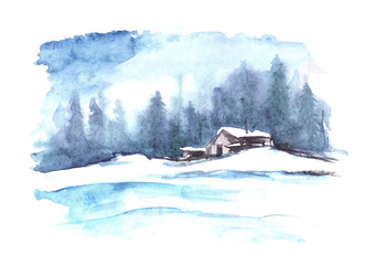 Watercolor winter pattern. Country landscape. The picture shows a house, spruce, pine, forest, snow and drifts.