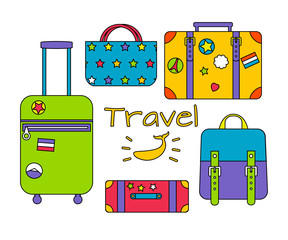 Vector set of travelling bags