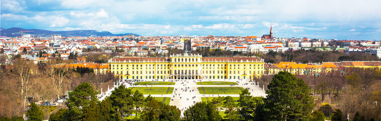 Aluminium Prints Vienna Schonbrunn Palace view and Vienna panoramic skyline, Austria