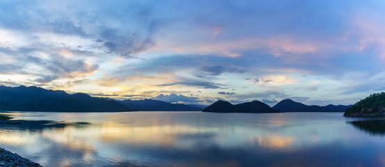 Panoramic scenery of Srinagarind Reservoir or Srinakharin dam , Kanchanaburi , Thailand