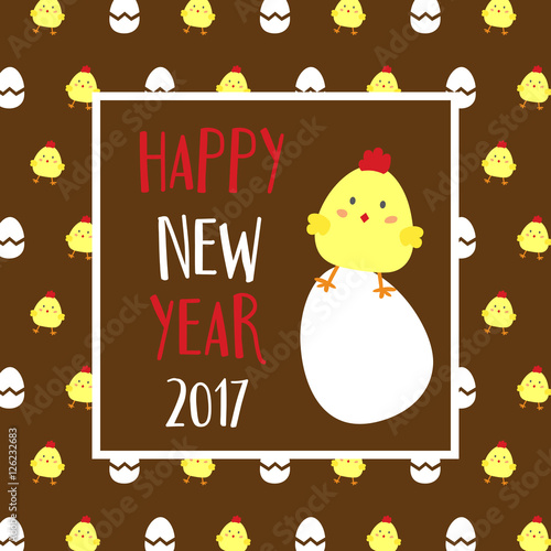 """""""Happy New Year 2017 theme. Year of Rooster. Happy cute ..."""