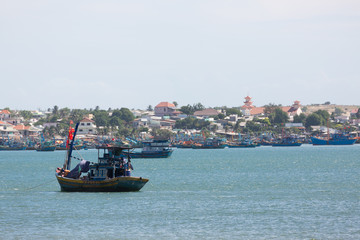 nautical fishing coracles in sea, tribal boats