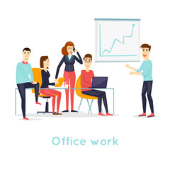 Business characters. Co working people, meeting, teamwork, collaboration and discussion, conference table, brainstorm. Workplace. Office life. Isolated background. Flat design vector illustration.