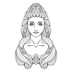 Girl black white and gold illustration. Long hair, tattoo image.