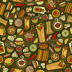 Cartoon cute hand drawn Mexican food seamless pattern.