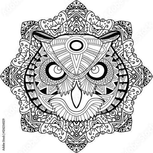 Quot Coloring Page For Adults Stern Owl On A Background Of A