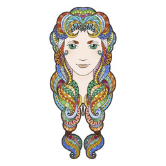 Beautiful girl with intricately patterned, zentangle braid and bright eyes.