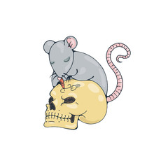Illustration with rat engraves human skull.