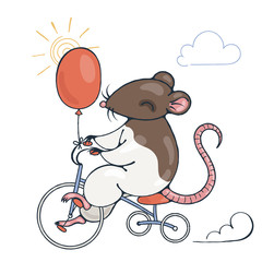 Illustration with a cheerful rat on a bike with balloon.