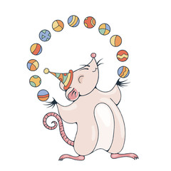 Illustration with a cheerful rat playing with a balls.