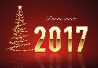 2017 - Carte de vœux - Sapin - Guirlande
