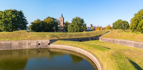 Panorama of rampart and church of Naarden, Netherlands