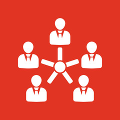 The management and teamwork icon. Team and group, teamwork, people, alliance, management symbol. UI. Web. Logo. Sign. Flat design. App.
