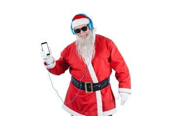 Santa claus listening to music on mobile phones