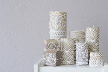 Candles handmade decoration ideas with lace
