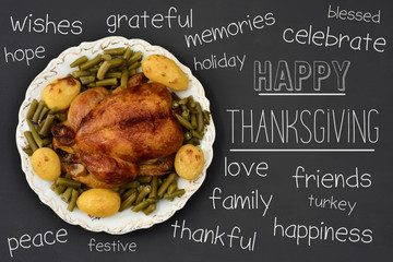 roast turkey and text happy thanksgiving
