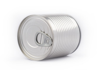Perspective view of metal can on white background
