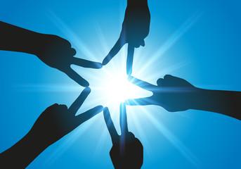 Union - esprit d'équipe - mains - étoile