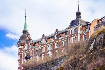 Historic building on hill in Stockholm, Sweden