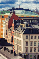 Panorama of Stockholm city center with industrial furnaces in the background