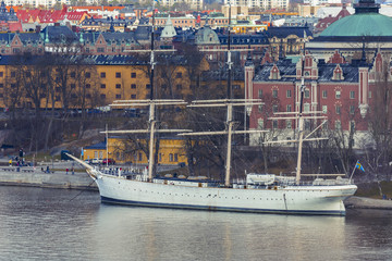 Old historical Vessel in Stockholm. Ship docked in Stockholm city