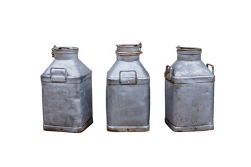 3 old milk churns