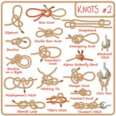 Set of rope knots, hitches, bows, bends isolated on white background