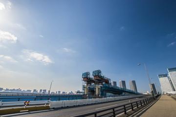 Fotobehang Brug 晴海大橋と首都高延伸