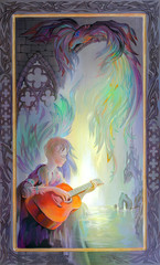 Old romance. Portrait of beautiful girl playing the guitar in the environment of fantastic Gothic landscape. Oil painting on wood.