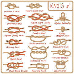 Set of rope knots, hitches, bows, bends isolated on white background. Decorative vector design