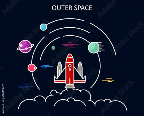 Outer space planetarium flat designs stock image and for Outer space stage design