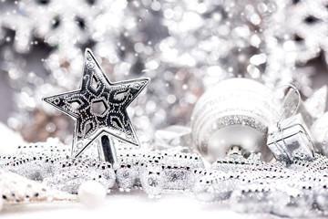 Christmas decoration on white snow in winter season