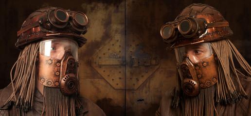 Post-apocalyptic futuristic concept. Fantasy. Steampunk