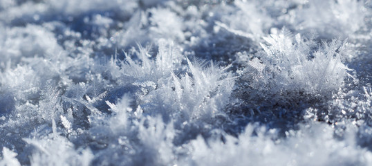 blue crystals of snow