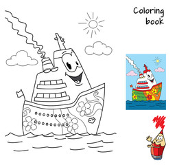 Funny cartoon ship. Coloring book. Cartoon vector illustration