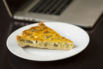 Cheese Quiche with chicken, arugula and mushrooms, homemade, woo