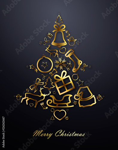 christmas tree with gold decorations on black background