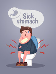 Man sitting on the toilet with stomach upset and diarrhea. Character sitting on the toilet