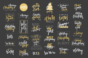 Merry Christmas and Happy New Year 2017 luxury calligraphy emblems set. New golden inscriptions holidays, vector logo, text design. Usable for banners, greeting cards, gifts etc.