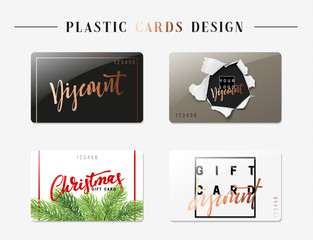 Set of gift discount cards. Fashion Templates of different colors and shapes. Christmas discount card. Vector illustration.