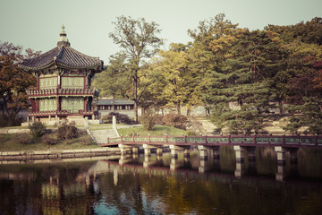 Emperor palace at Seoul. South Korea. Lake. Mountain. Reflection