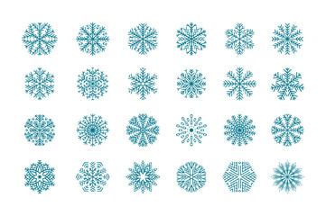 Set 24 blue different snowflakes of handmade. Snowflake Flat. New Year's symbols. Snowflakes for design. Winter objects. Festive elements. Snowflake Doodle. Snowflake Sketch