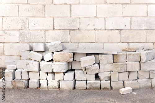 Cellular Lightweight Concrete Blocks : Quot blocks of lightweight cellular concrete on the brick wall