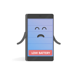 Smartphone concept upset low battery charge. Cute cartoon character phone with hands, eyes and smile