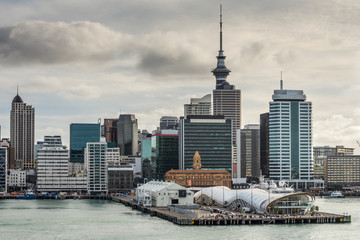 Auckland City CBD, Sky Tower & Waterfront with dramatic sky